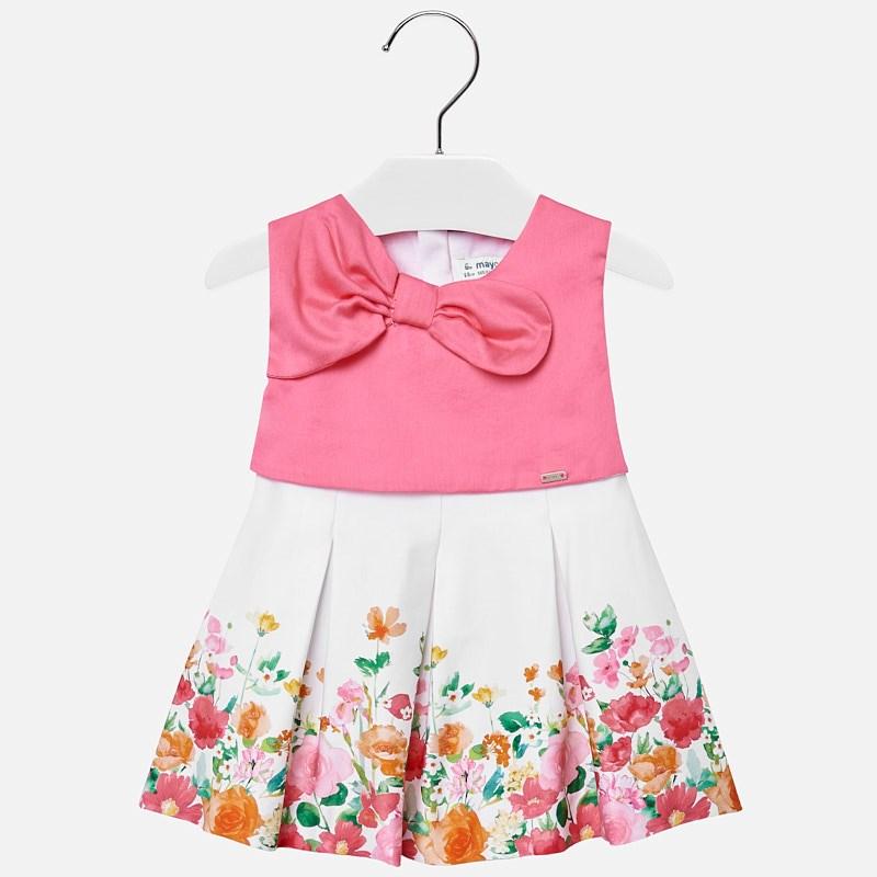 ea1946e17 Vestido cenefa flores bebé niña Chicle - Mayoral
