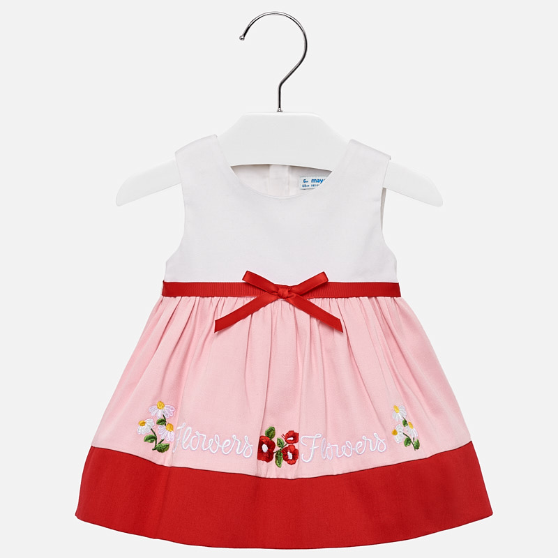69d2cb208 Vestido cenefa bordada bebé niña Rojo - Mayoral