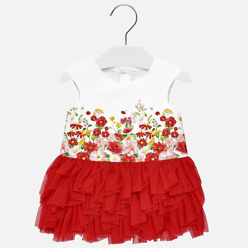 71f28b2b1 Vestido tul cenefa bebé niña Rojo - Mayoral