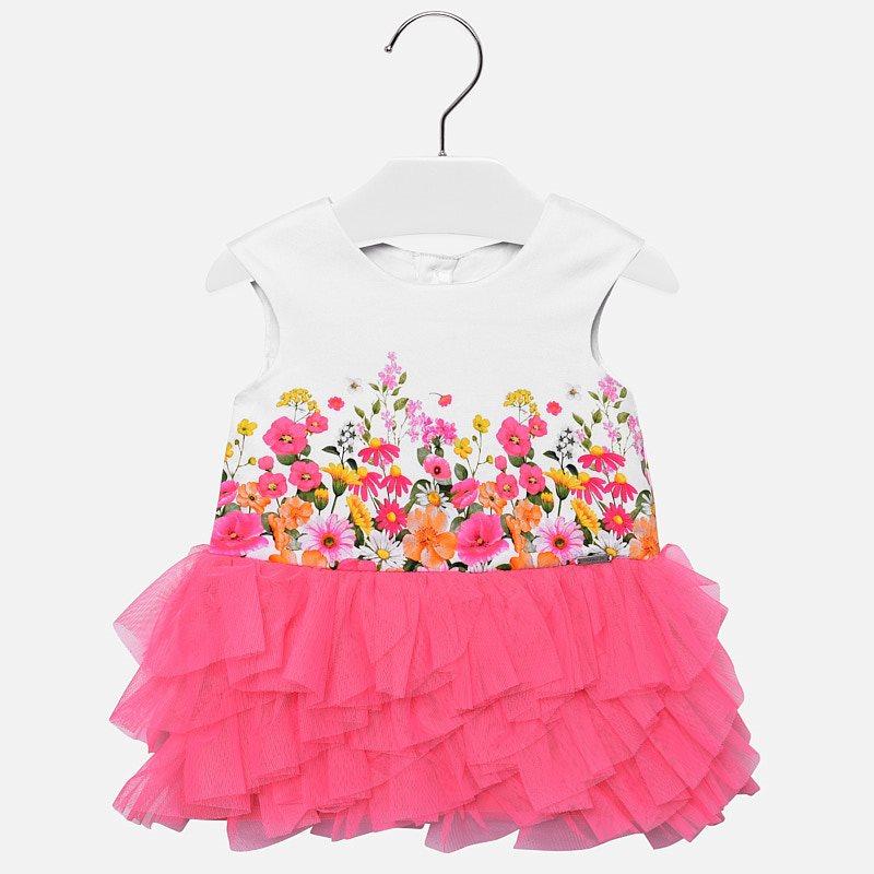 ff38f6c05 Vestido tul cenefa bebé niña Chicle - Mayoral
