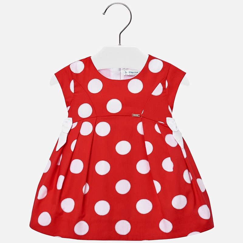 58ee620445 Sukienka w groszki i wstążki dla dziewczynki Baby Czerwony - Mayoral