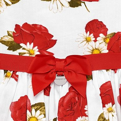 38858ddf8d317 Robe roses avec ruban bébé fille Rouge.