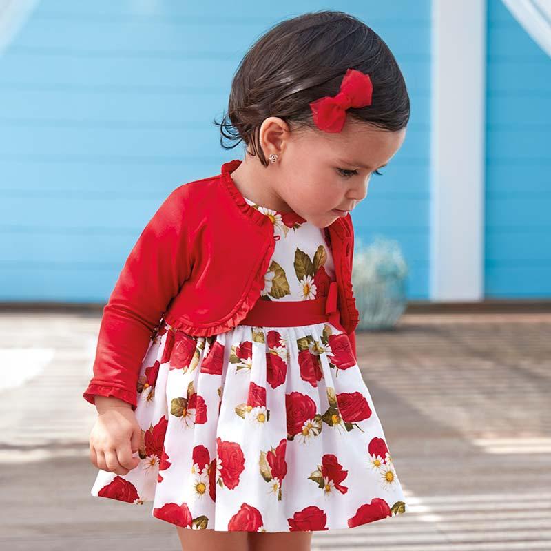 2df0beeb9c028 Robe roses avec ruban bébé fille Rouge - Mayoral