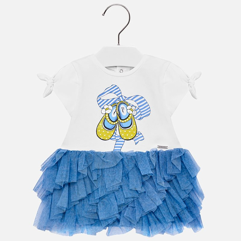 aa1e16fe98776 Robe jupe volant tulle bébé fille indigo - Mayoral