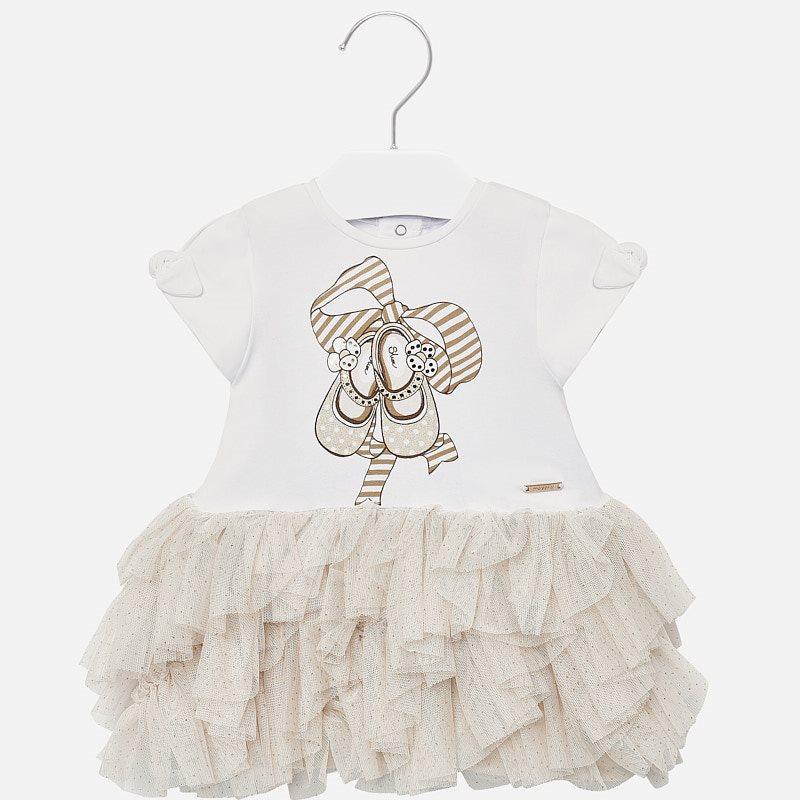 Vestido falda volantes tul bebé niña Champán - Mayoral 2512b4f8db7c