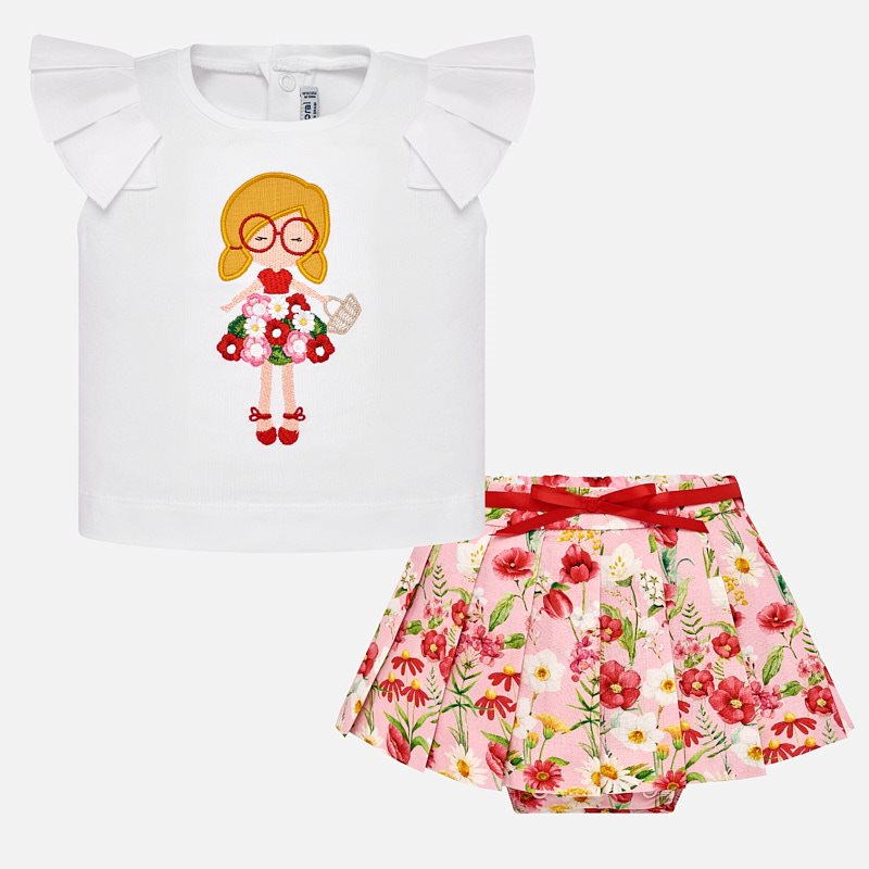 Conjunto camiseta y falda tablas flores bebé niña Rojo - Mayoral 58d037a38ae0