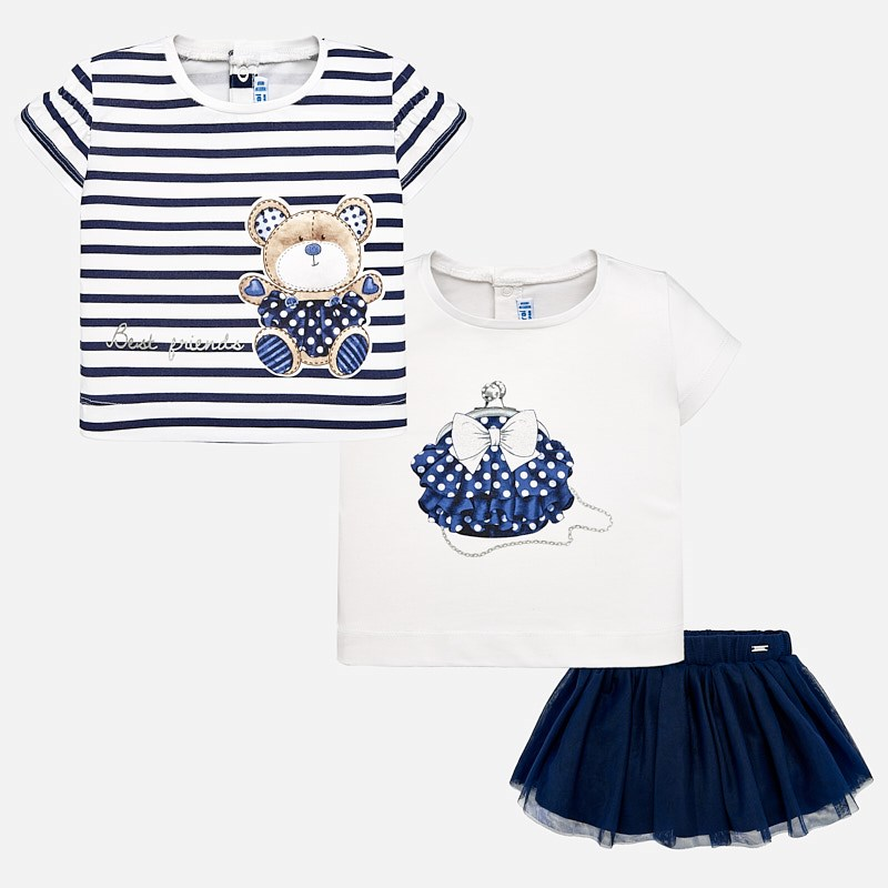 d5f08ea2ce217 Combinable t-shirts and skirt set for baby girl Navy blue - Mayoral