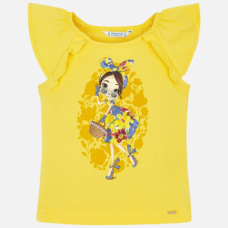 51bdb39406fb55 Short sleeved doll t-shirt with bow for girl Yellow - Mayoral