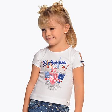 816a6a5e165e8e Short sleeved milkshakes t-shirt for girl White - Mayoral