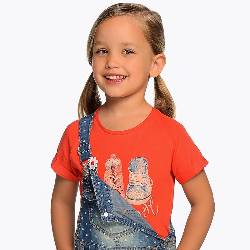 b0fa87e704db Μπλούζα κοντομάνικη σχέδιο παπούτσια κορίτσι Λωτός - Mayoral