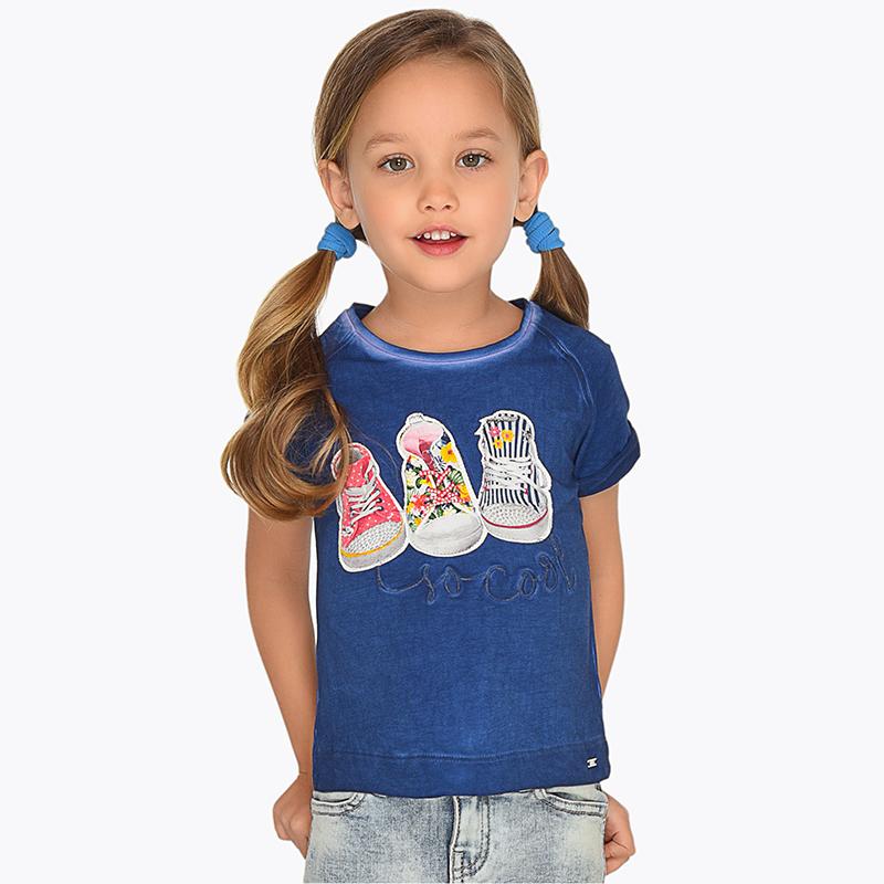 13d188180d1b Μπλούζα κοντομάνικη σχέδιο παπούτσια κορίτσι Ναυτικό - Mayoral