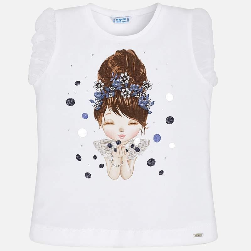 636d3da1dfe Μπλούζα κοντομάνικη κούκλα κορίτσι Άσπρο-Ναυτικό μπλε - Mayoral