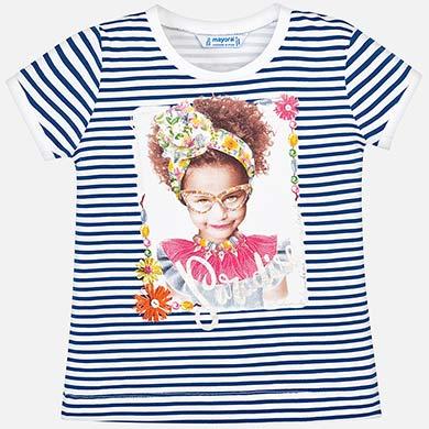 0c6f4fe7f0be24 Short sleeved striped t-shirt for girl