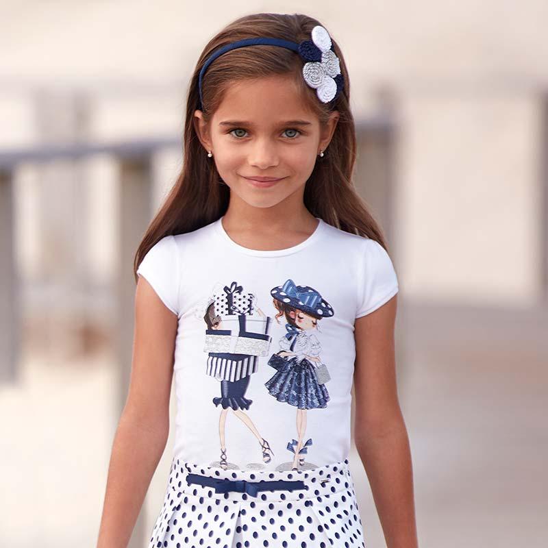 Maglietta manica corta bambole bambina Blu Navy