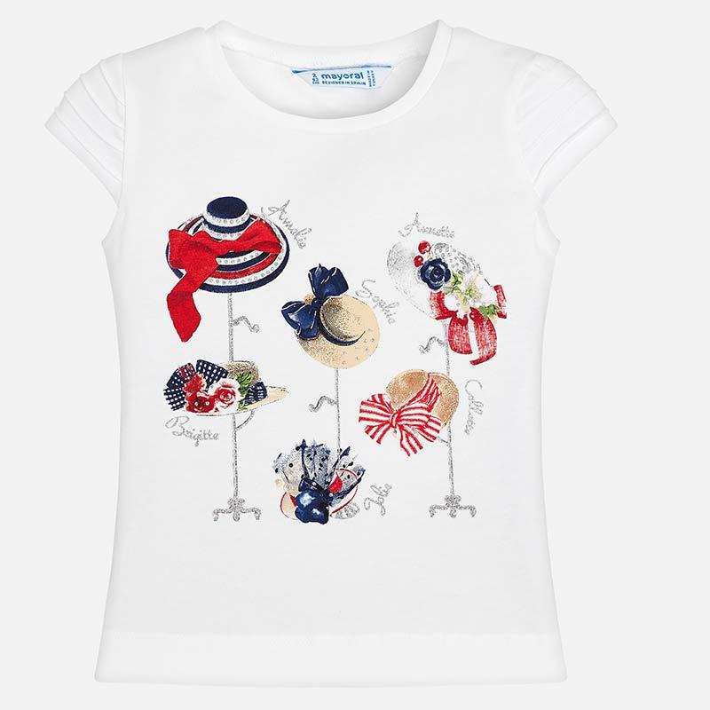 Camiseta manga corta sombreros niña Blanco-Rojo - Mayoral 5343f5a90ea92