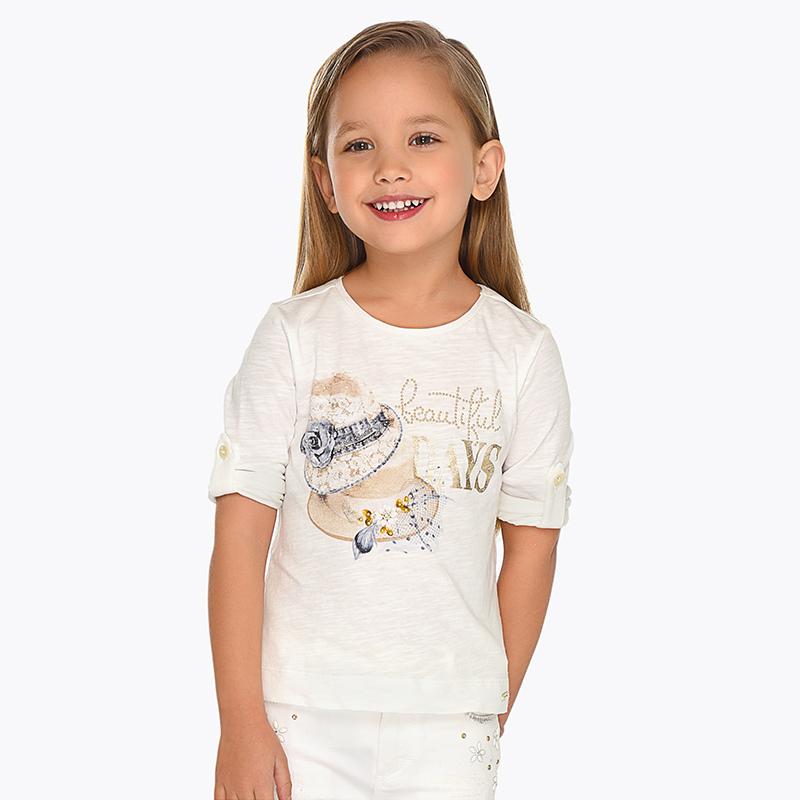 f60403101b67 Μπλούζα μακρυμάνικη καπέλα κορίτσι Εκρού - Mayoral