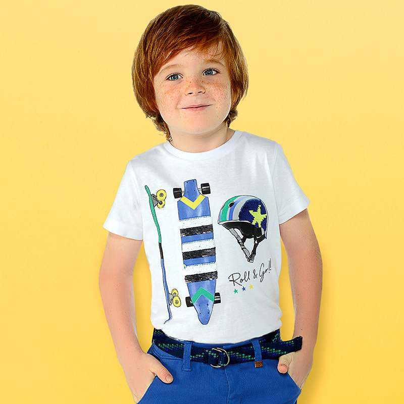 a46ea3056 Camiseta manga corta skate niño Blanco - Mayoral