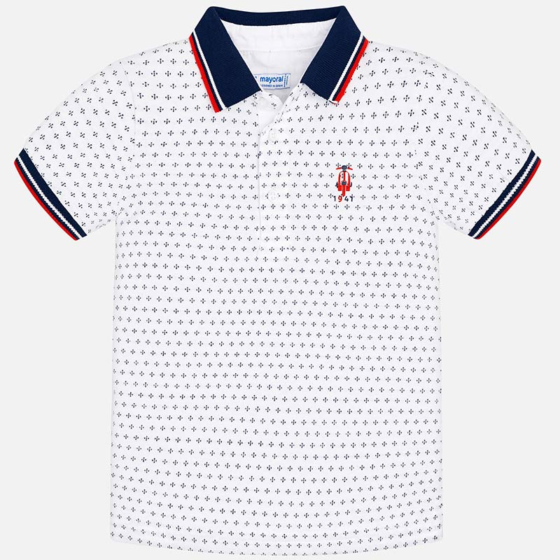 44d5a2b1 Short sleeved mini-patterned polo shirt for boy White - Mayoral