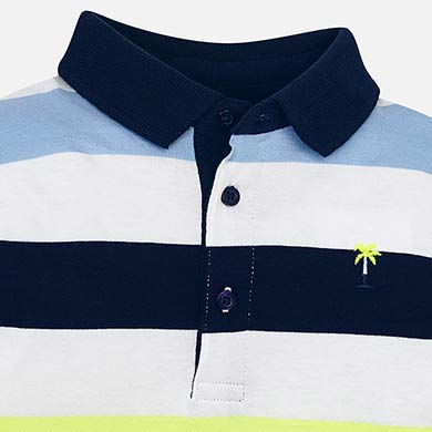 80c2a3539fe4 Long sleeved block stripes polo shirt for boy Neon pineapple - Mayoral