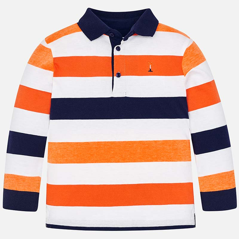 1b4421ec Long sleeved block stripes polo shirt for boy Passion fruit - Mayoral
