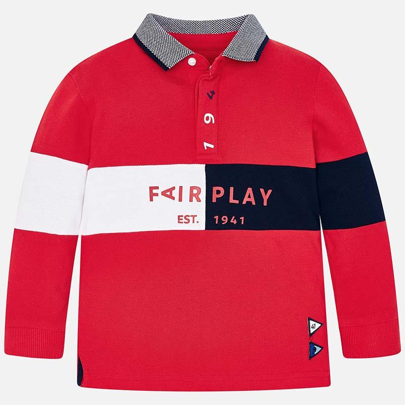 c6c9f6c7b Long sleeved Fair Play polo shirt for boy Rojo - Mayoral
