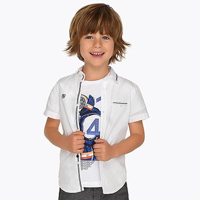 37402c7fc971 Camisa manga corta bolsillo decorativo niño