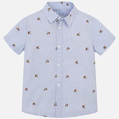 0519aabe32 Camisa manga curta estampada riscas menino Lavanda - Mayoral