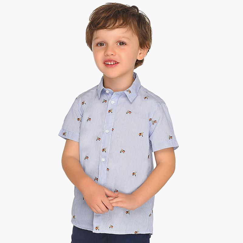 9a608eeee Camisa manga curta estampada riscas menino Lavanda - Mayoral