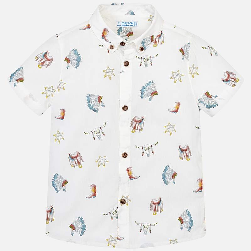 ab631f4d5d Camisa manga curta desenhos menino Branco - Mayoral