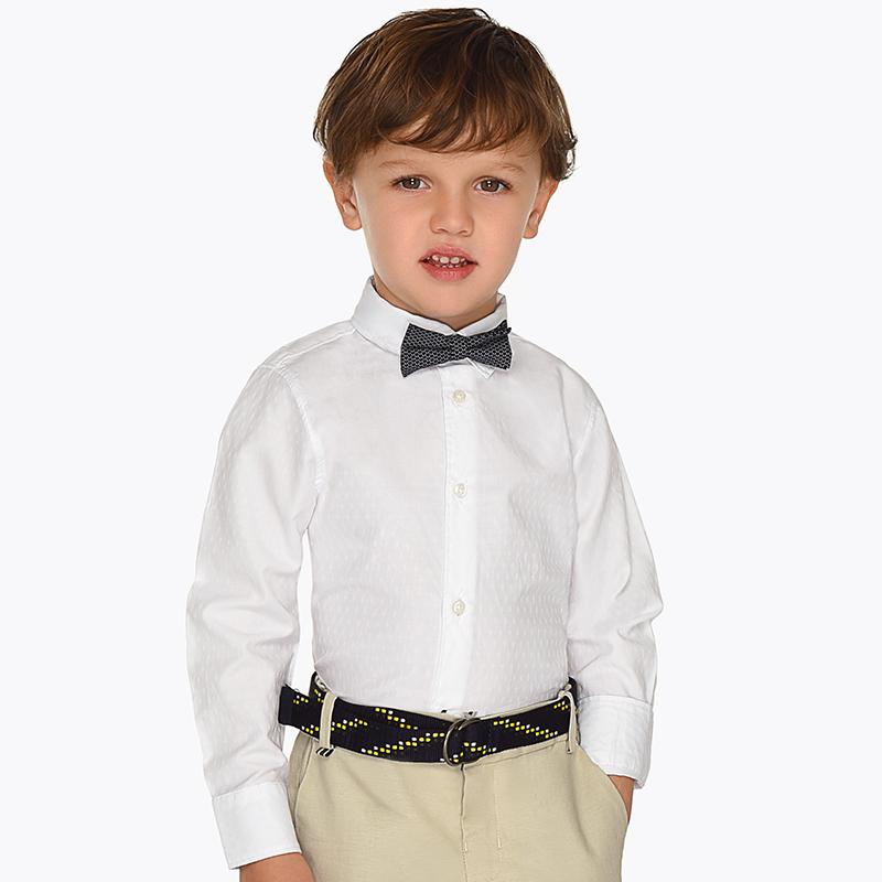 c1ea4d048 Camisa manga larga con pajarita niño Blanco - Mayoral