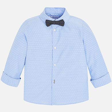 12c169528 Camisa manga larga con pajarita niño