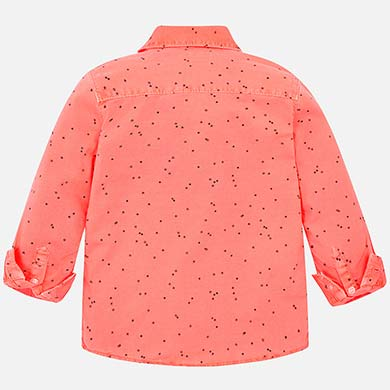 a6ce14ac64a Long sleeved linen patterned shirt for boy Fluorescent salmon - Mayoral