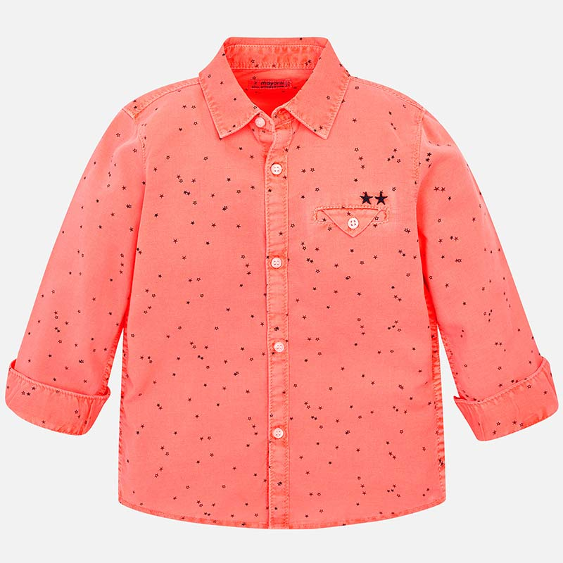 6caa23267 Camisa manga larga lino estampado niño Salmón fluor - Mayoral