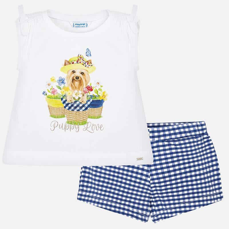 8d681125d Conjunto camiseta y shorts vichy niña Azul - Mayoral
