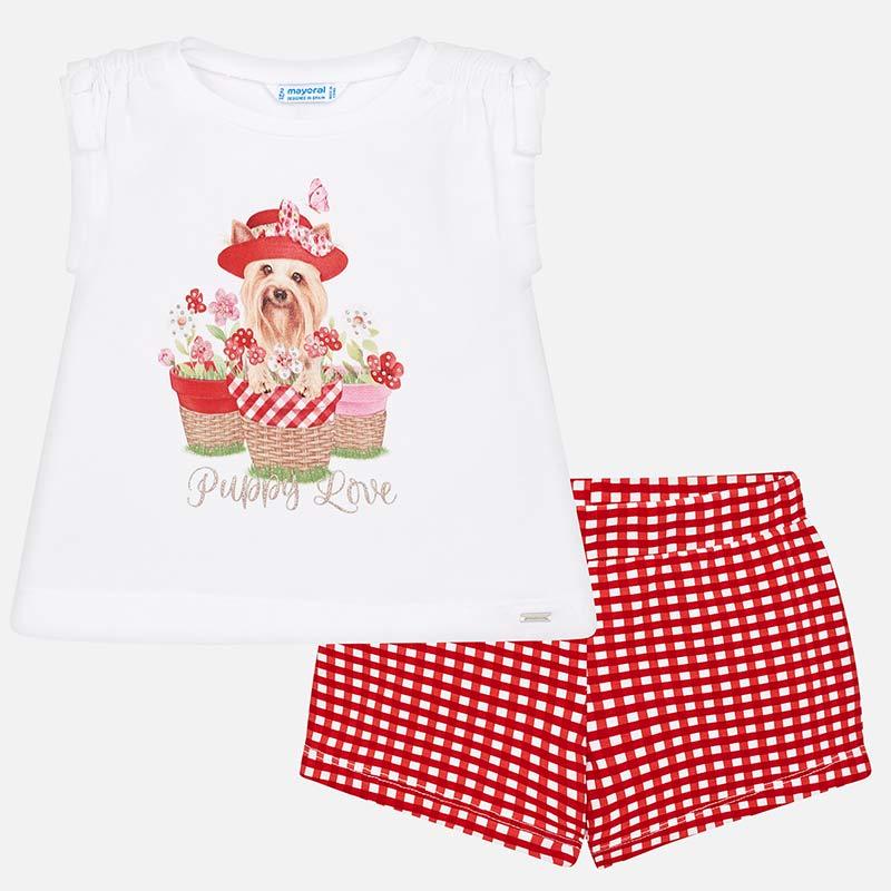 56b94f01e Conjunto camiseta y shorts vichy niña Rojo - Mayoral