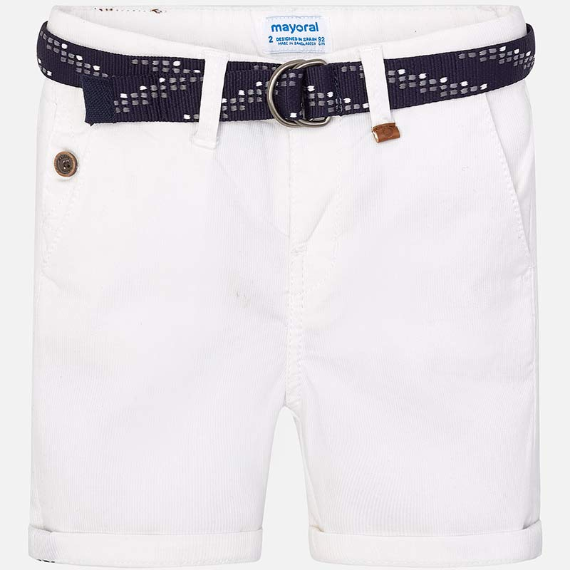 a0454f01ac83 Pique bermuda shorts with belt for boy White - Mayoral