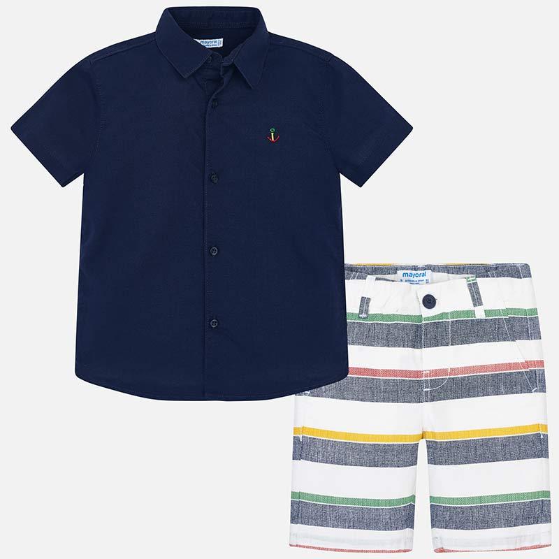 852323667 Conjunto camisa e bermudas riscas menino Marinho - Mayoral
