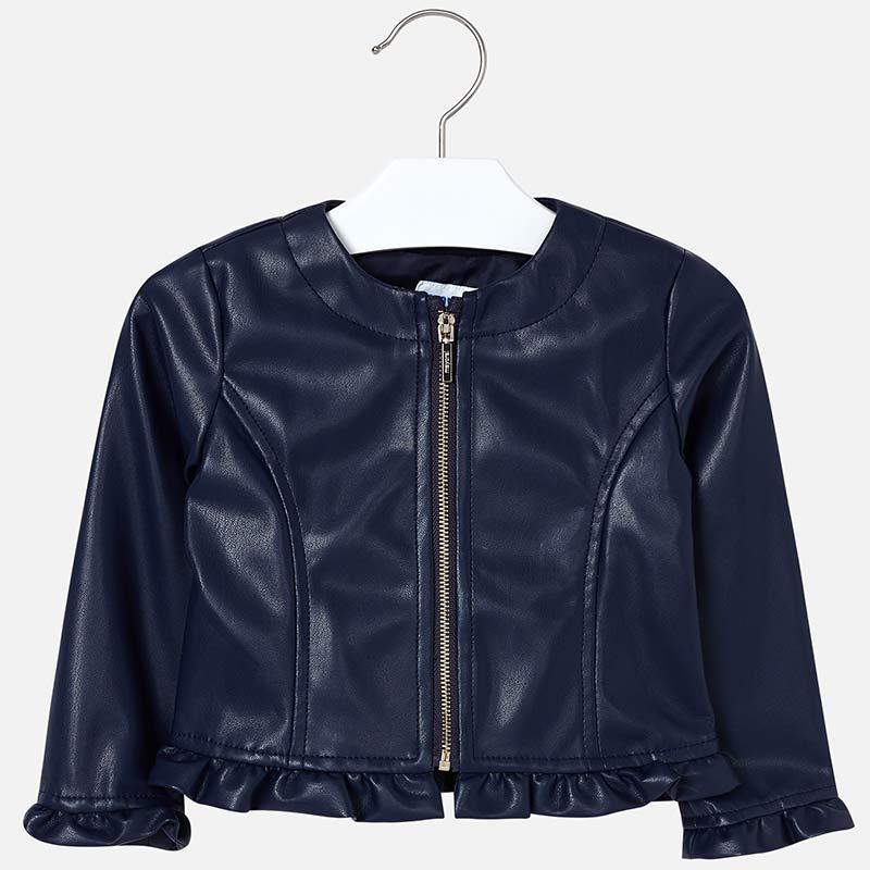 2320f67ec Leatherette ruffled jacket for girl Navy blue - Mayoral