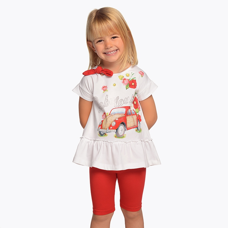 30797a2f44f Σετ μπλούζα και κολάν κοντό κορίτσι Κόκκινο - Mayoral