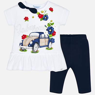 66ef2caf2 Conjunto camiseta y leggings cortos coche niña Marino - Mayoral