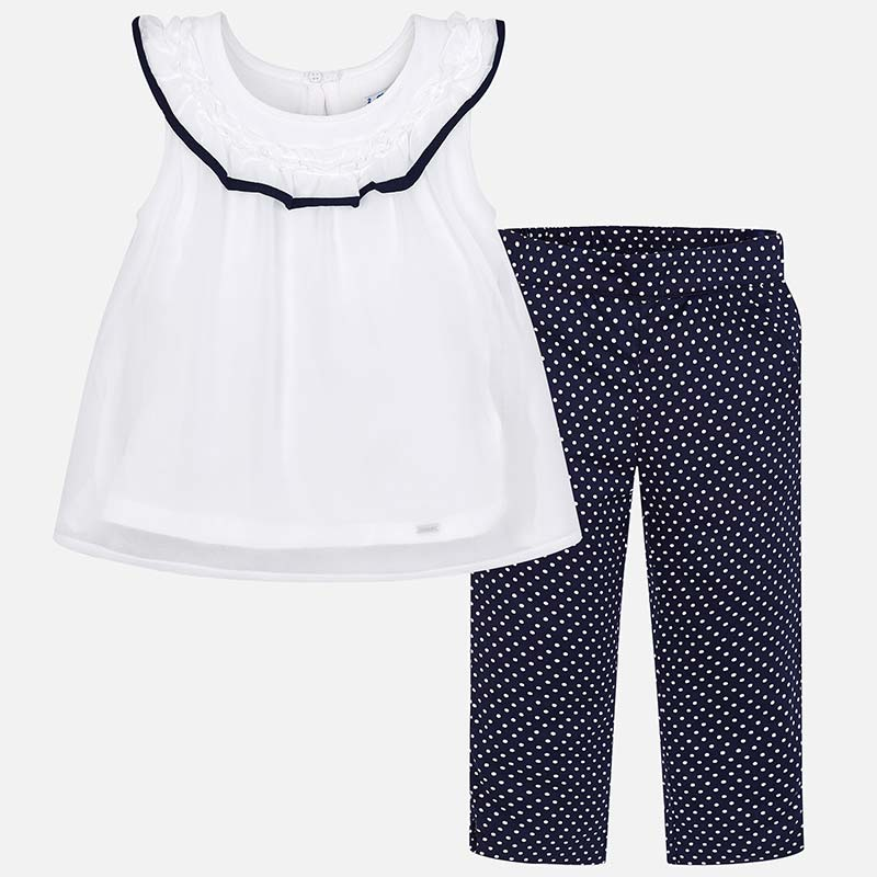 713439a1ab421 T-shirt and polka dot trousers set for girl Navy blue - Mayoral
