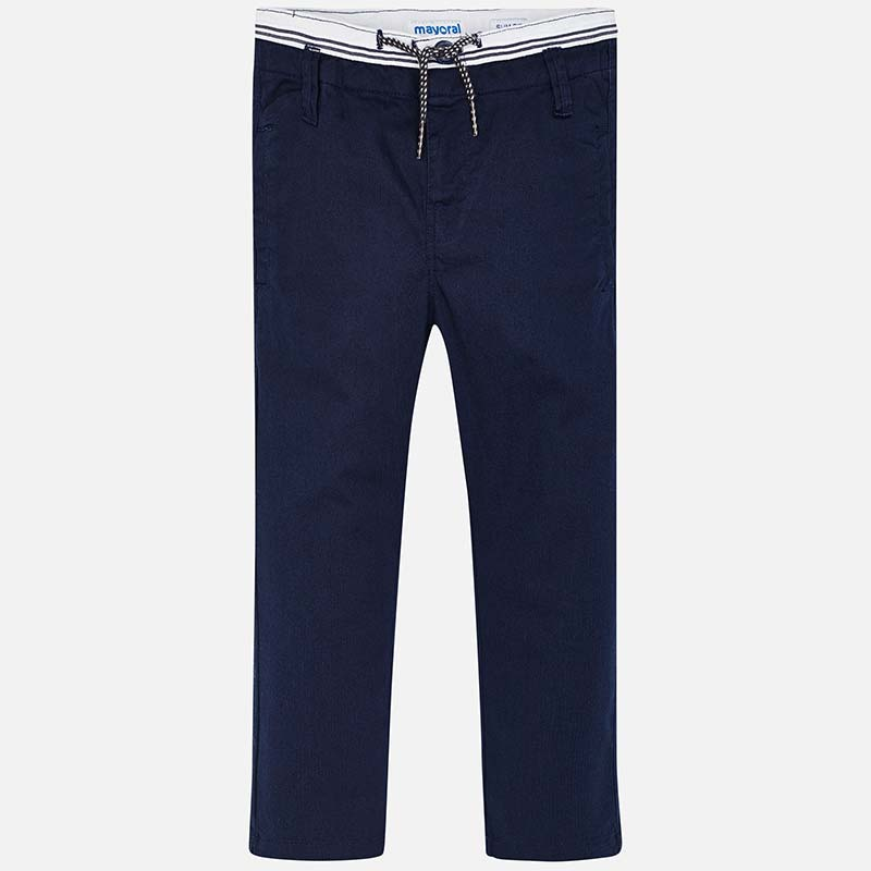 551dcf7f91 Slim fit chino trousers with drawstring for boy Navy blue - Mayoral