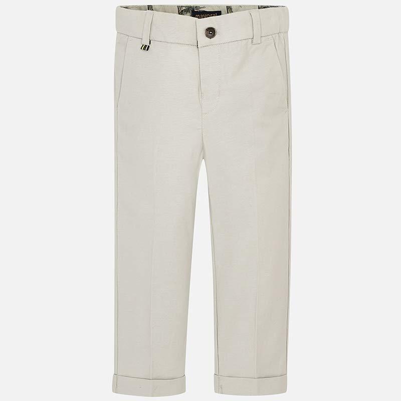 fc33526e04d3e9 Długie lniane spodnie garniturowe dla chłopca Kamienny beż - Mayoral