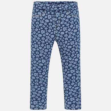 Pantalón largo vaquero estampado niña Flores - Mayoral 875529defe14