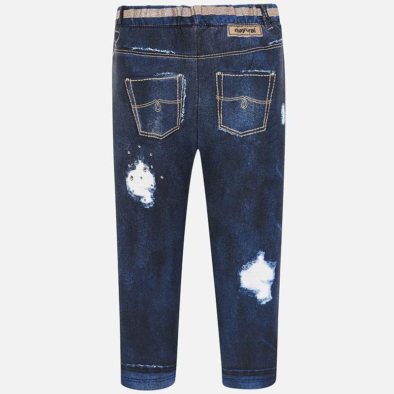 55c656ceda3b7 Jegginsy długie z przetarciami dla dziewczynki Ciemny jeans - Mayoral