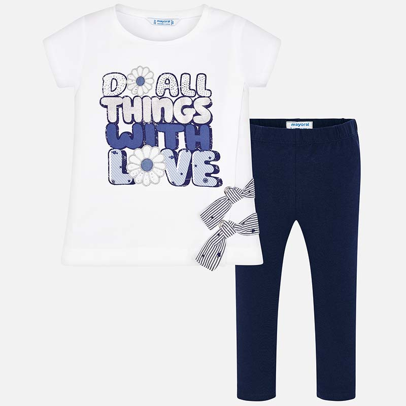 9061fa978 Text t-shirt and leggings set for girl Navy blue - Mayoral