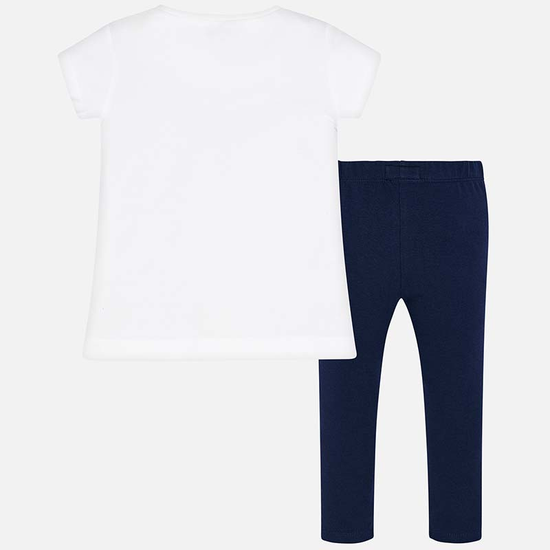 67650116d2017 Text t-shirt and leggings set for girl Navy blue - Mayoral