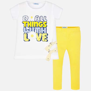 f27b338ad Conjunto camiseta texto y leggings niña