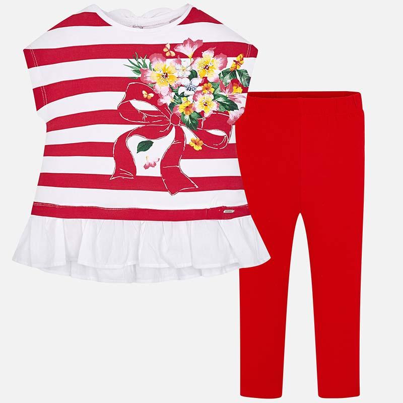 8297bc983 Conjunto camisola riscas e leggings menina Vermelho - Mayoral
