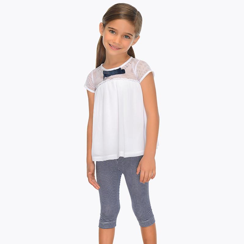 4d8f3430c2aa Completo blusa e leggings vichy bambina Blu Navy - Mayoral